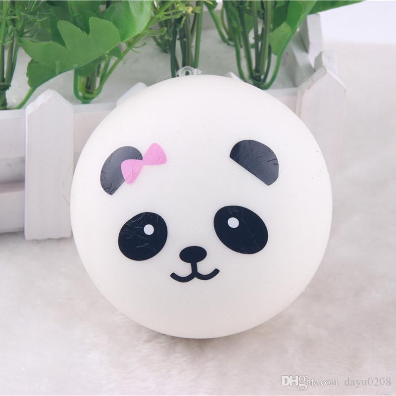 10cm Panda Mobile Phone Straps Squishy Kawaii Buns Bread Charms Key Chain Key Bag for Cell Phone Emotional venting tool