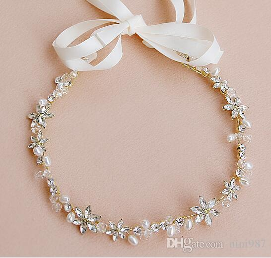 Fresh Water Pearl Hand Made Wedding Hair Accessories Bridal Jewelry Headpieces Ribbon Headband Wedding High Density Crystal Bride Accessory