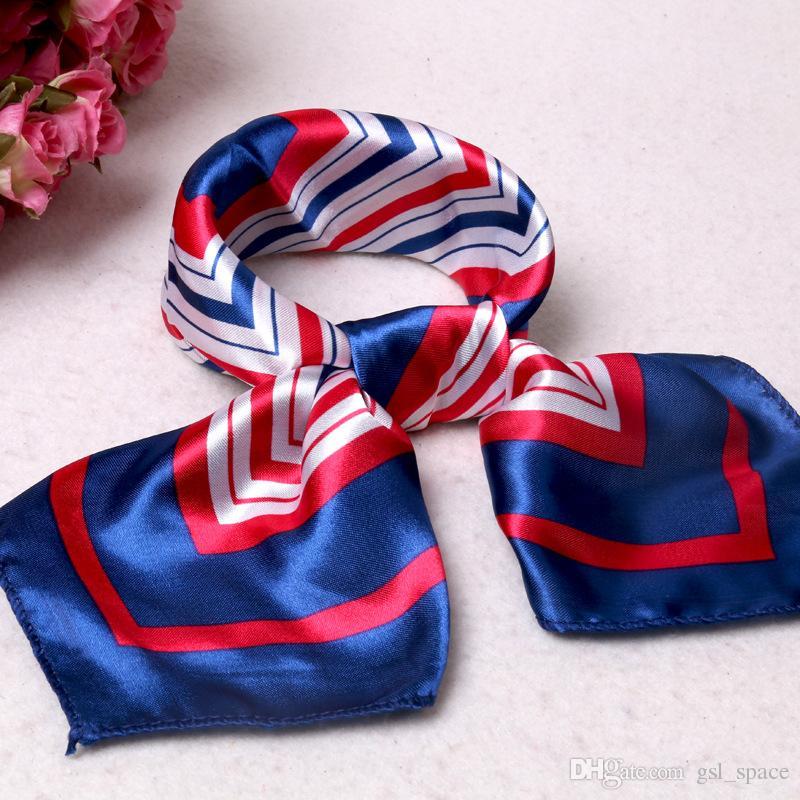 Yüksek kaliteli moda baskı küçük eşarp veya fular, hostes profesyonel görgü taklit geometrik desen ipek eşarp toptan