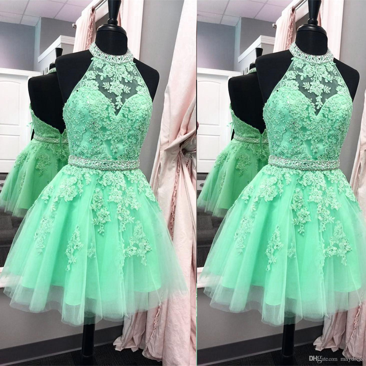 590759f941 Mint Green Homecoming Dresses 2017 Short Real Image Open Back Cocktail Party  Dress Halter Sheer Prom Gowns Free Homecoming Dresses Good Homecoming Dress  ...