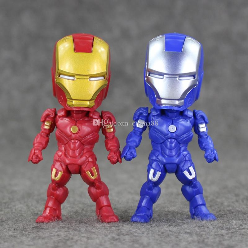 9cm Super Hero Iron Man Q version PVC Action Figure Collectable Model toy for kids Christmas gift retail