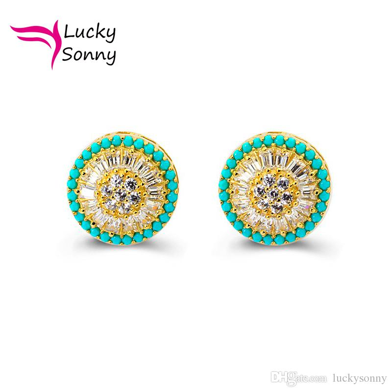 3512adbec 2019 Silver Stud Earrings Brazil Silver Ear Jewelry Loose Turquoise & White  CZ Micro Paved 18k Gold Plated Screw Back Round Pizza Stud Earrings From ...