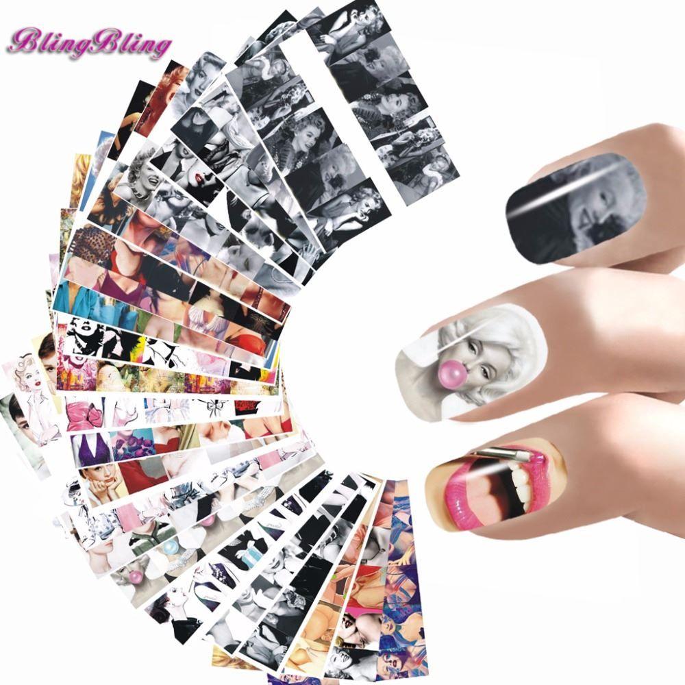 3d Nail Art where to buy 3d nail art supplies : 24 Sheet Nail Sticker Marilyn Monroe Nail Art Water Decals Audrey ...
