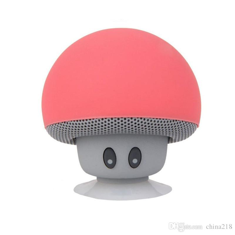 Cartoon Mashroom Mini Bluetooth Speaker Portable Outdoor Subwoofers Loudspeaker For iphone tablet pc with Stand Holder and Sucker