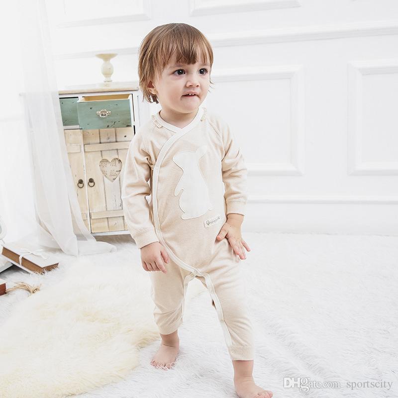 2017 autunno e inverno neonato vestiti bambini a maniche lunghe dei jeans del fumetto modello obliquo risvolto cravatta colore cotone bambino vestiti congiunti