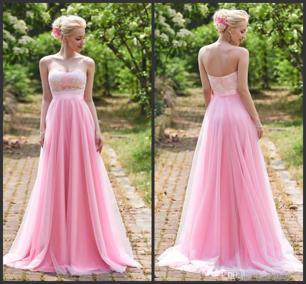 Compre 2017 Encantadores Rubor Rosados vestidos De Novia Abierto ...