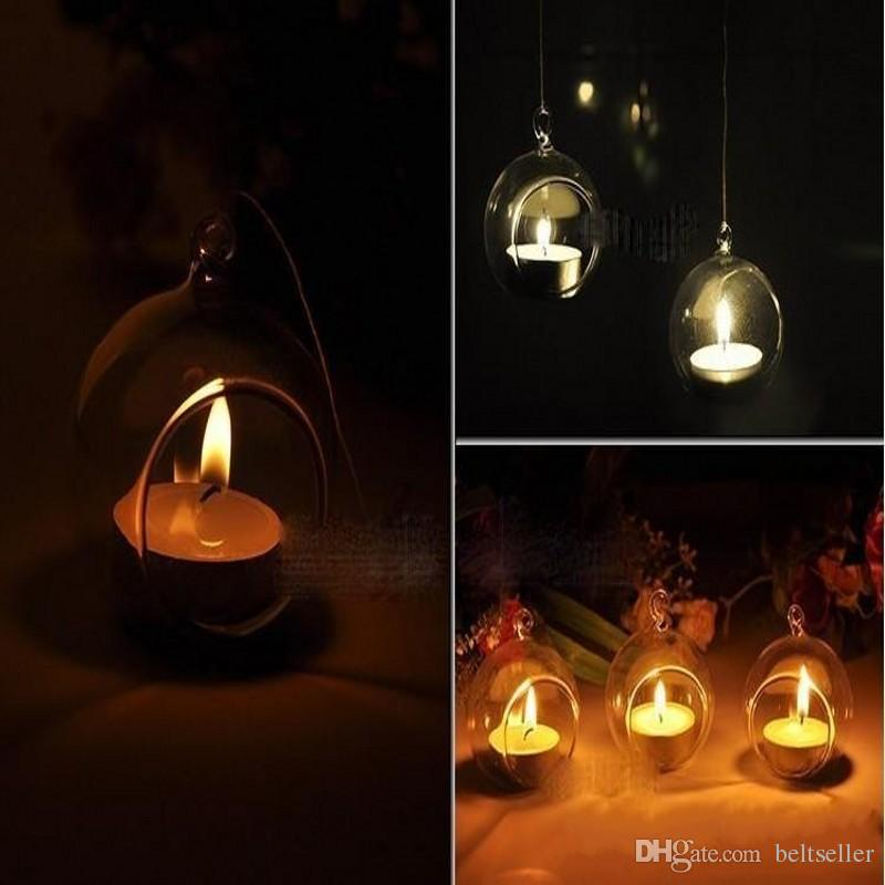 100 Pz / scatola Tea Light Holder 80 MM Vetro Aria Pianta Terrari Hanging Glass Orb Portacandele Per La Cerimonia Nuziale Candeliere Giardino Decor Home Decor
