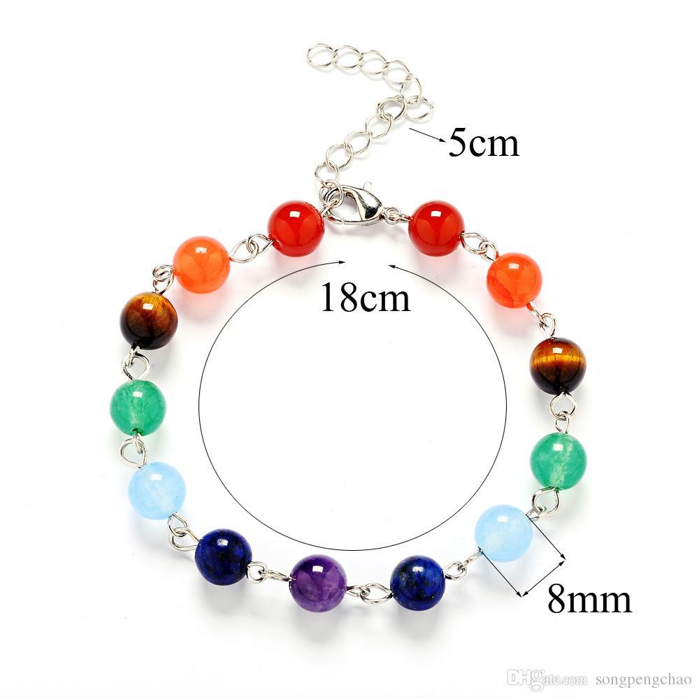 Hot Sale 7 Chakra Healing Balance Beads Bracelet 7 Chakra Bracelet Agate Tiger Eyes Amethyst Crystal Natural Stone Bracelets Yoga Jewelry