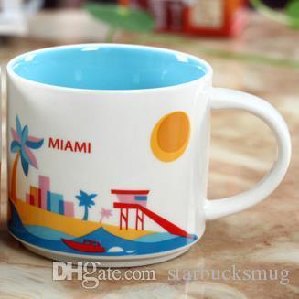 14 oz kapasite seramik starbucks şehir kupa Amerikan şehirleri orijinal kutusu ile en iyi kahve kupa bardak Miami şehri
