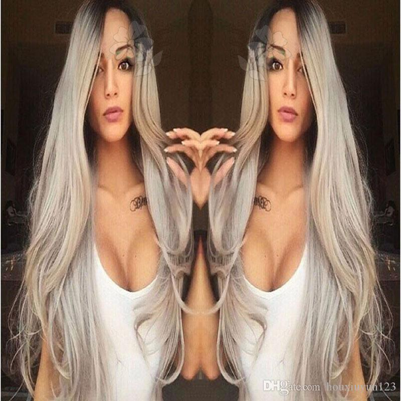 Synthetic Lace Front Wig Long Straight Grey Lace Front Wig Ombre Two-Tone Synthetic Lace Front Wig Grey Ombre Wigs For Fashion Black Women