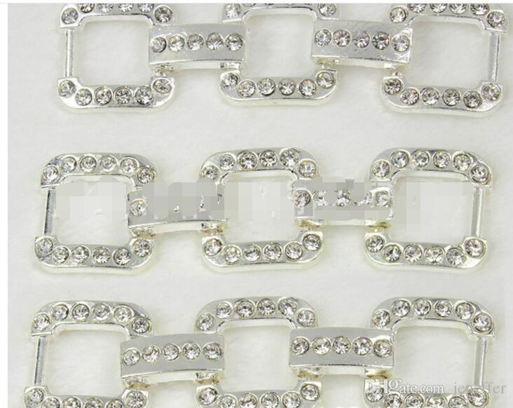 58-459 Hot DIY handmade Braided Bracelet necklace connection accessories Environmentally rhinestone silver block chain connector