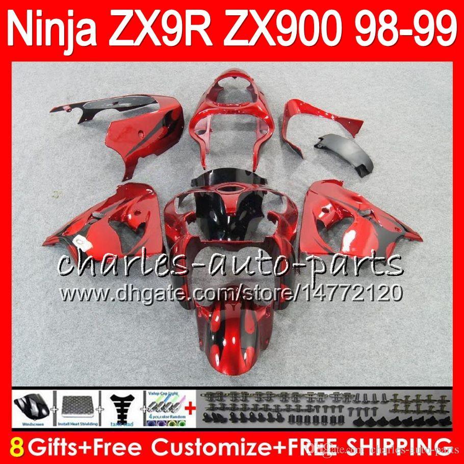 8Regalos es para KAWASAKI NINJA ZX 9 R ZX9R 98 99 00 01 900CC 48NO8 Llamas negras ZX 9R ZX900 ZX900C ZX-9R 1998 1999 2000 2001 Kit de carenado