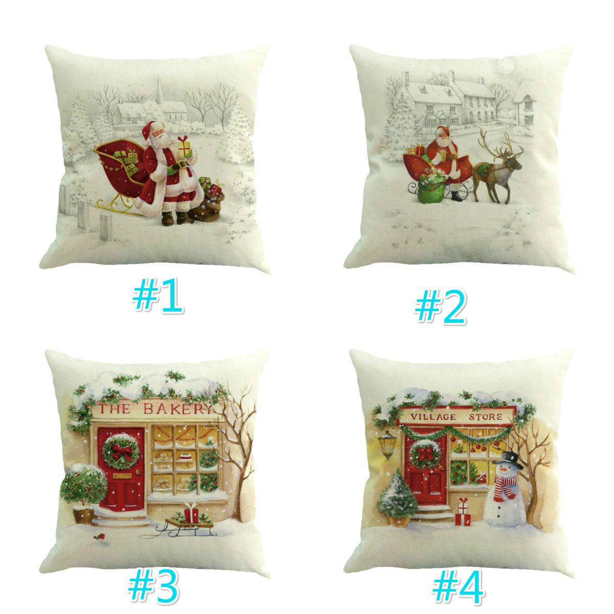 Christmas Tree Deer Pattern Linen Cushion Covers Car Seat Cushions