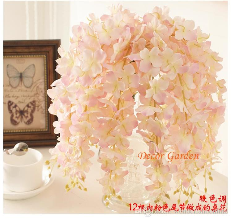 30PCS Artificial Hydrangea Wisteria Flower For DIY Simulation Wedding Arch Square Rattan Wall Hanging Basket Can Be Extension fv02