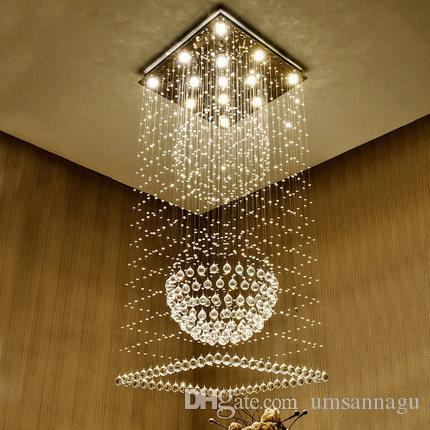 Led modern crystal chandeliers square k9 crystal chandelier lights led modern crystal chandeliers square k9 crystal chandelier lights fixture home indoor lighting hotel hall lobby stair long hanging lamps plastic chandelier aloadofball Images