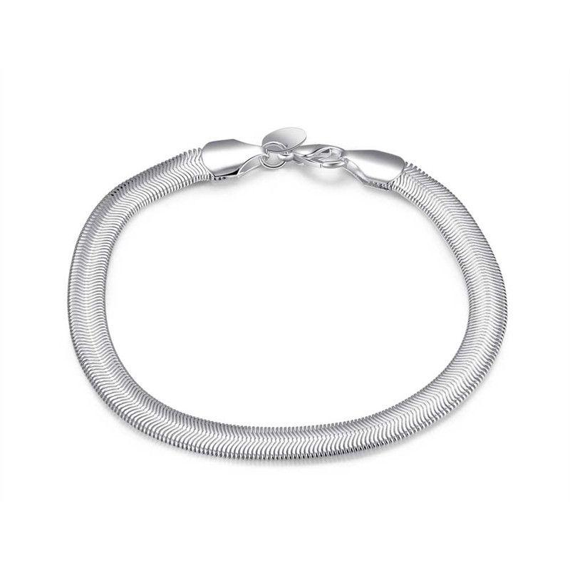 Varm 925 Silver Snake Chain Armband för män Enkelt Cool Style Mode Smycken Gratis frakt 10st