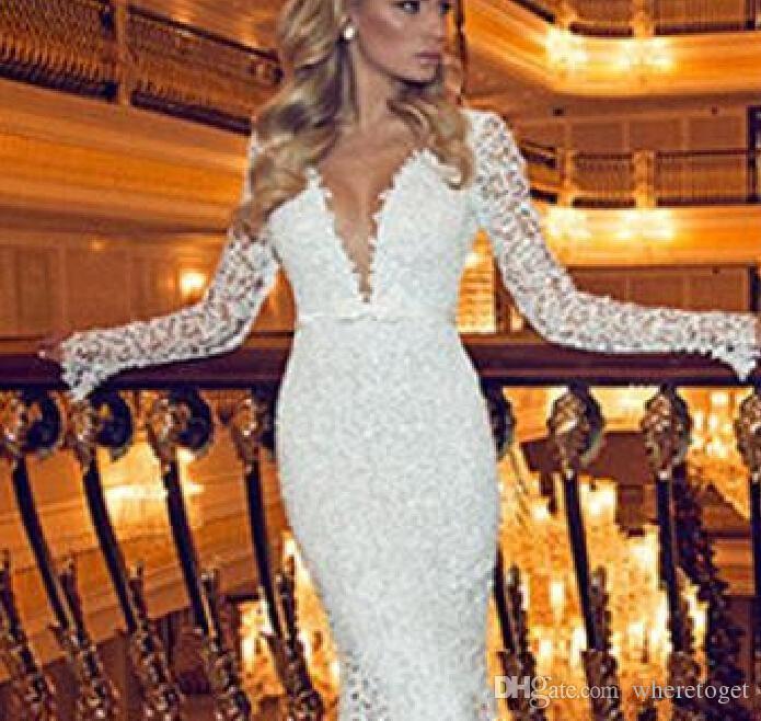 2019 zimowy styl z długim rękawem koronki suknie ślubne V-Neck Backless Mermaid Sweep Pociąg Prosta Design Suknie Ślubne Custom Make tani