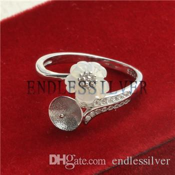 Ring Settings White Shell Flower 925 Sterling Silver DIY Jewellery Findings Pearl Mounting for Pearl Party