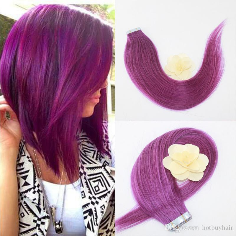 Full Hair Violet Color 50g Set Pu Tape In 100 Remy Human Hair