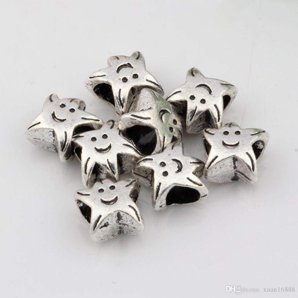 Caliente ! 300 unids Antiqued Silver Smiley face Large Hole Spacer Beads Fit European Charms Pulsera 10x10x6mm DIY joyería