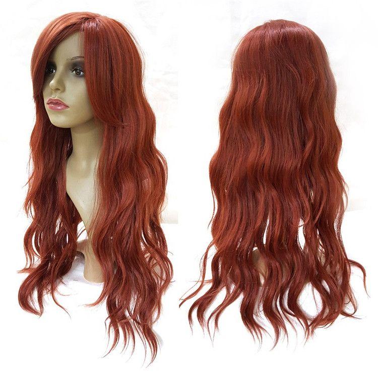 "Red Big Wavy Long Wigs For Black White Women Natural Synthetic 28"" High Heat Fiber Pelucas Diagonal Points Sinteticas Perruque Peruca Pruik"
