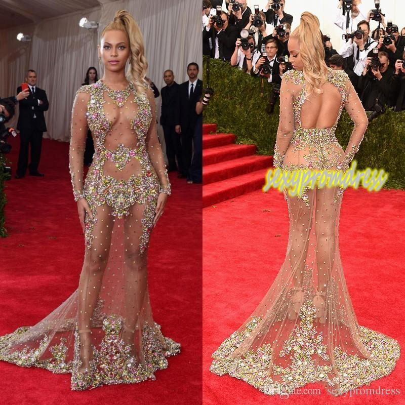 2019 schiere Perlen Abendkleid Beyonce Met Ball Roter Teppich Kleider Nude Naked Celebrity Dress Durchsichtig Abendkleidung Sweep Zug Backless