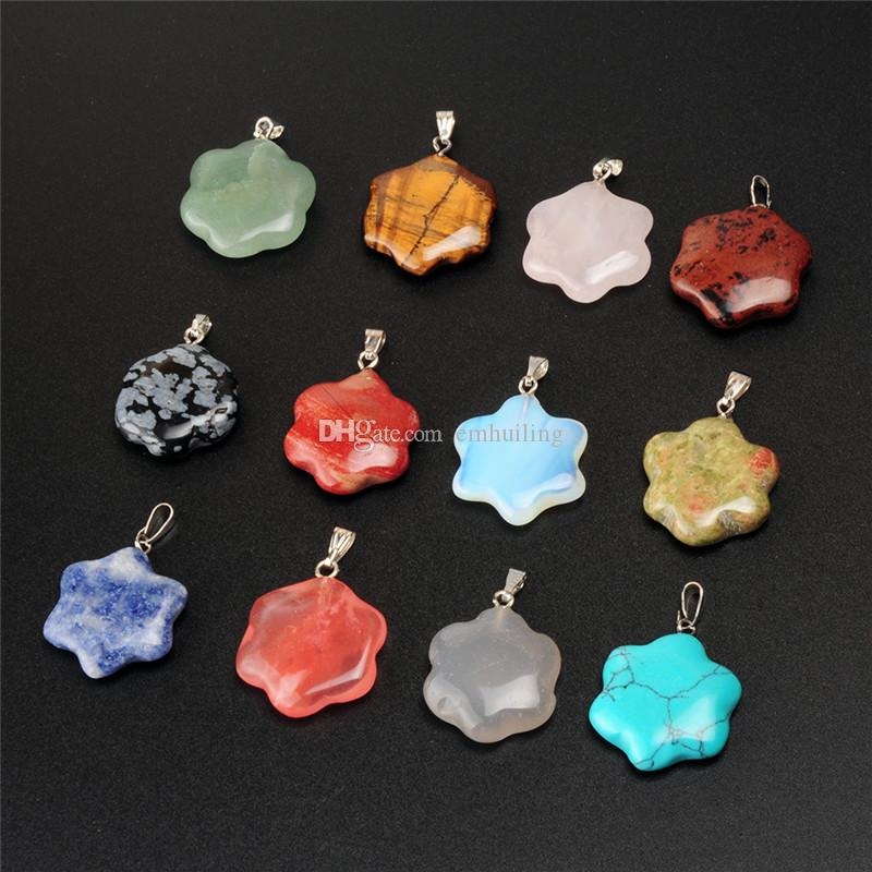 New Promotion Cute Star Charms Pendants Made of Mixed Sodalite Snowflake Obsidian Agate Stone for Necklace Jewelry Making DIY Handmade Craft