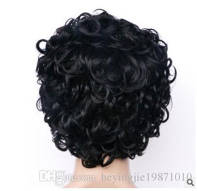 Xiu Zhi Mei Top Quality Short Cut Kinky Curly Wig Simulation Human Hair Full Wigs short bob curly full wig with bangs for black women