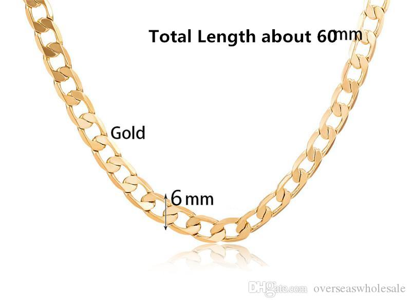 6mm Dia Hip Pop Boys MENS Chain Hammered Flat CLOSE Curb White Yellow Rpse Gold Filled Necklace Chain Bulk Price Wholesale Gift