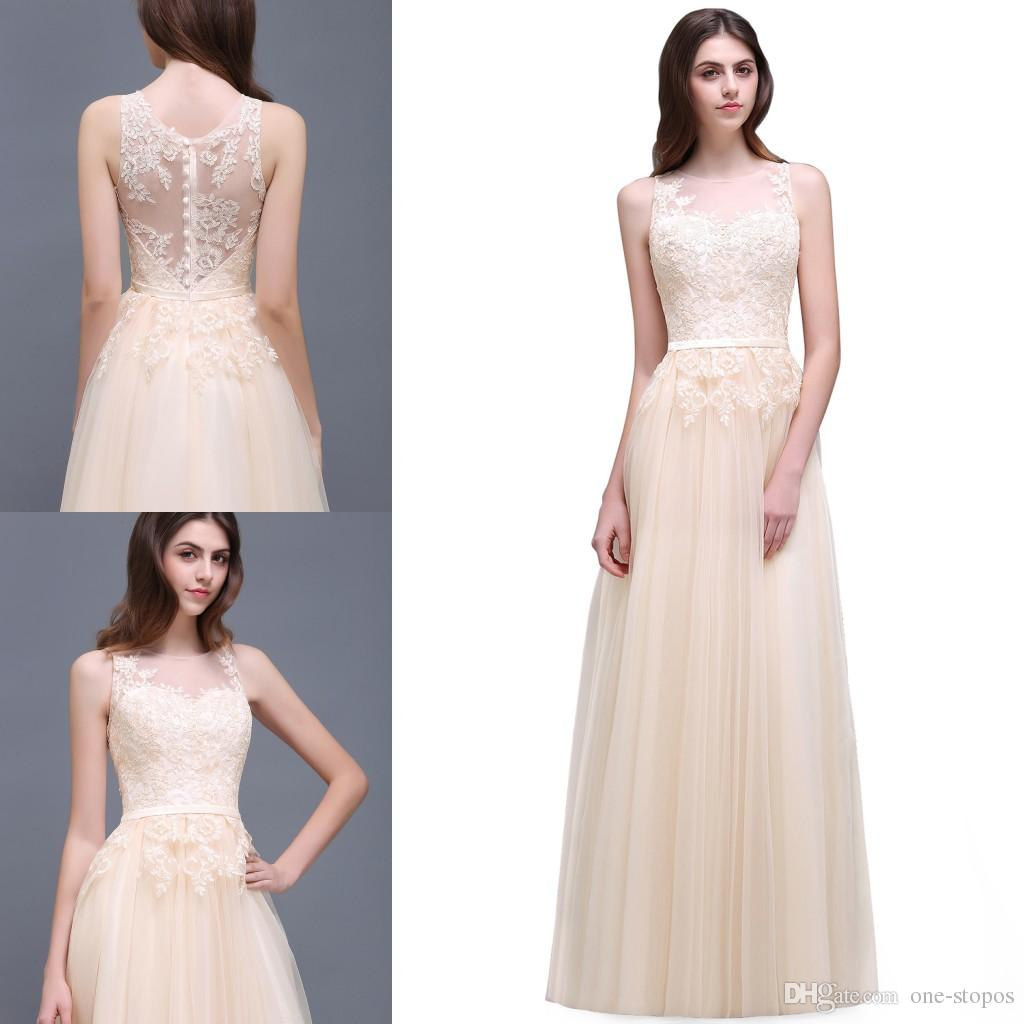 New designer long champagne bridesmaid dresses 2017 elegant lace new designer long champagne bridesmaid dresses 2017 elegant lace applique tulle a line country maid of honor gowns cps494 dresses for wedding formal dress ombrellifo Choice Image