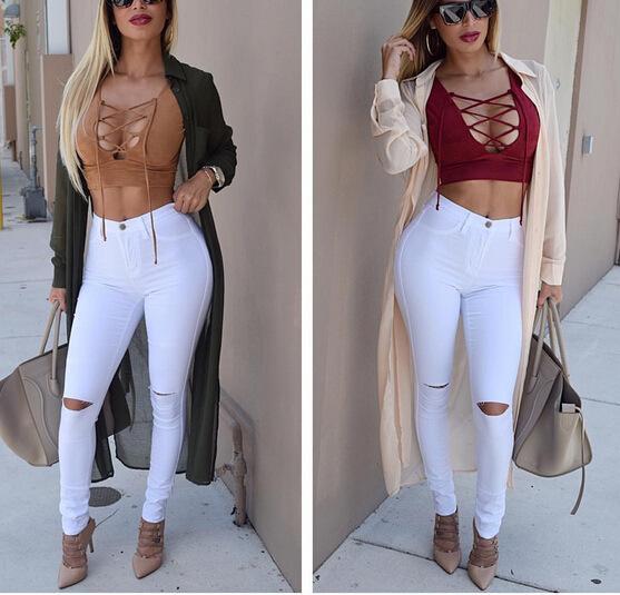 913bcfcc6b7f3 Compre Al Por Mayor 2015 MODA Jeans Mujer Rodilla Skinny Lápiz Pantalones  Slim Denim Ripped Boyfriend Jeans Para Mujeres Blanco Ripped Jeans Vestidos  A ...