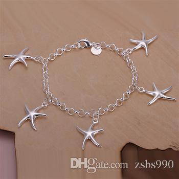 Wysokiej jakości 925 Silver Starfish Wisiorek Naszyjnik Bransoletka i Kolczyki Urok Biżuteria Zestaw Kobiety Factory Tanie Hurtownie