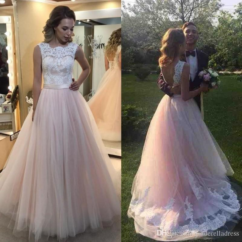 Discount 2017 blush pink lace soft lace wedding dresses for Soft pink wedding dress