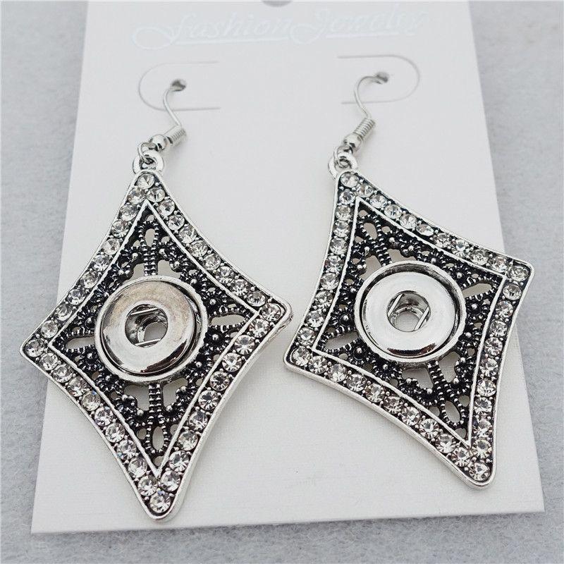 Women Vintage Silver Lozenge Rhinestone Noosa Chunks Metal Ginger 12mm Snap Buttons Dangle Earrings Jewelry Wholesale