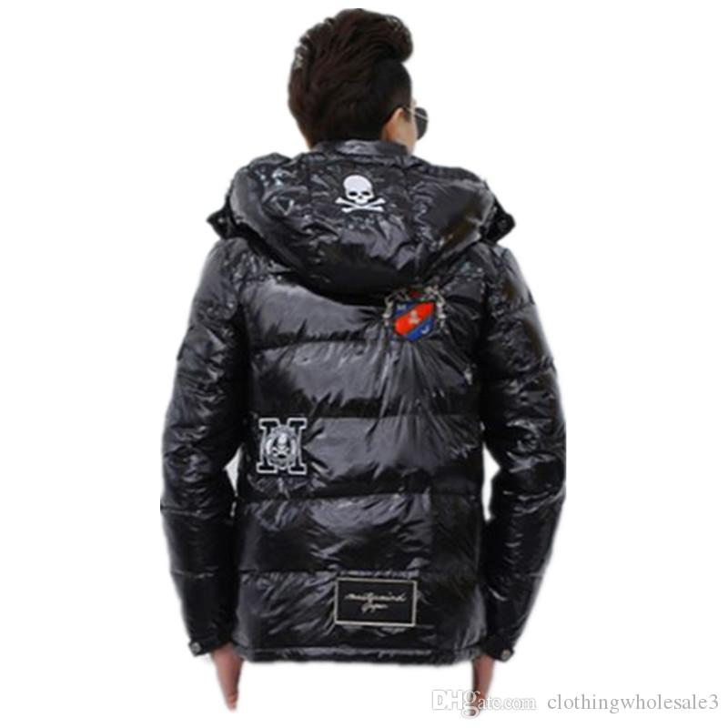Mens Thicker 90% White Duck Down Coats with Skull Embroidery Black Winter Warm Outwear with Hooded Zipper Clothes Sale