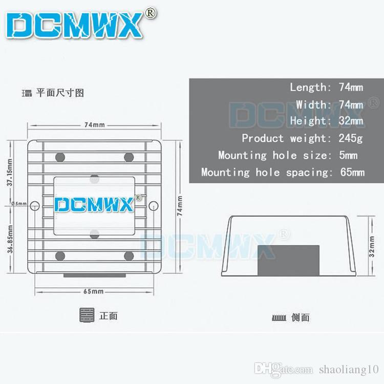 DCMWX® Buck-Spannungswandler 60V48V36V24V12V Drop zu 5V Auto-Wechselrichter senken Eingang DC8V-75V Ausgang 5V3A5A8A10A12A15A wasserdicht