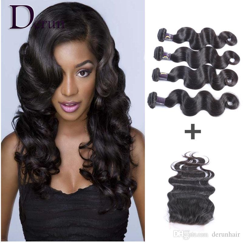 Brazilian Human Weave Hair Weft Extensions 4 Bundles And Top Lace