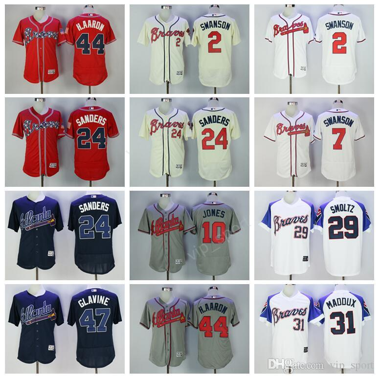 ff0304968 ... Cool Base Player Jersey 2017 Men Baseball Atlanta Braves Jerseys 5  Freddie Freeman 10 Chipper Jones 7 Dansby Swanson 44 ...