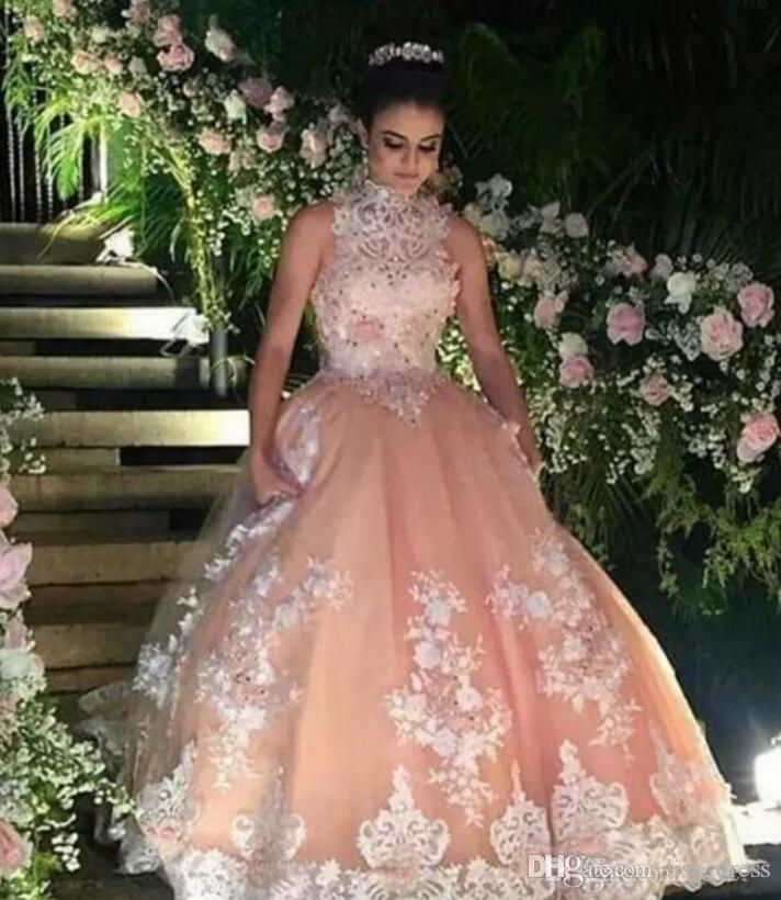 cb2d11c2ec7 Peach Organza Quinceanera Dresses 2017 New High Neck Sleeveless Lace  Appliqued Beaded Ball Gown Sweet 16 Floor Length Pageant Gowns Cheap  Quinceanera ...