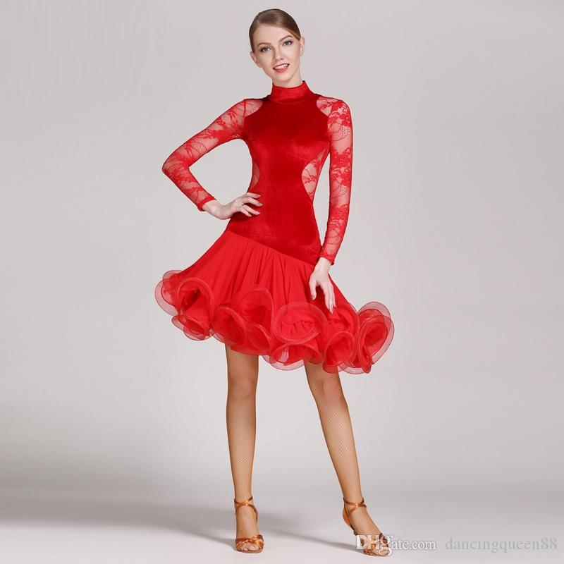 red lace latin dance dress fringe women latin dress dancing clothes Dancewear latina salsa dresses for dancing samba tango
