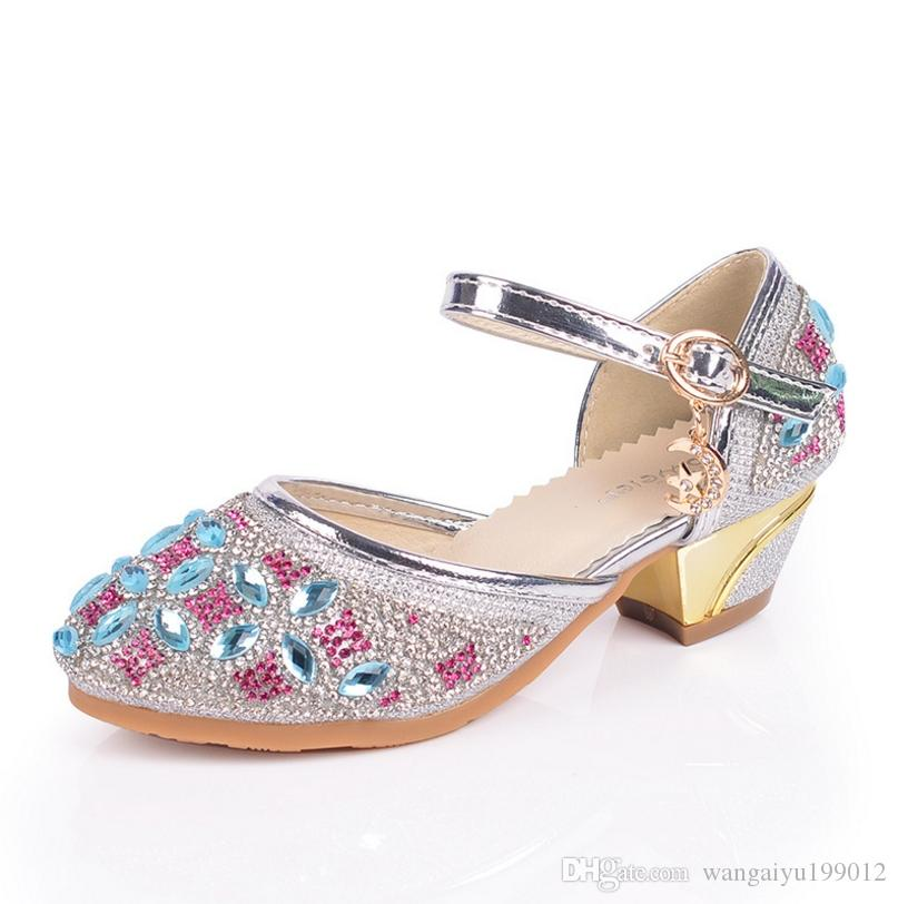 Girls Baotou Rhinestone Princess Shoes Children'S High Heeled Shoes In The  Big Child Students Colorful Rhinestones Dance Shoes Kids Shoes On Sale Kids  ... - Girls Baotou Rhinestone Princess Shoes Children'S High Heeled