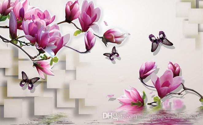 3D Stereo Magnolia TV Hintergrundbild 3D wallpaper 3D Tapeten für TV Hintergrund