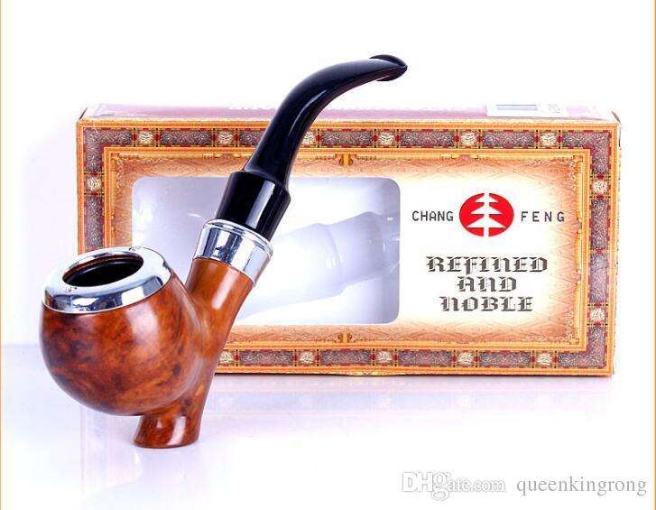 Os mais recentes Resina Cigarette Smoking madeira charuto tabaco para cachimbo com caixa de presente 2 Tipo escolher o filtro Pipes Drip Tip mão
