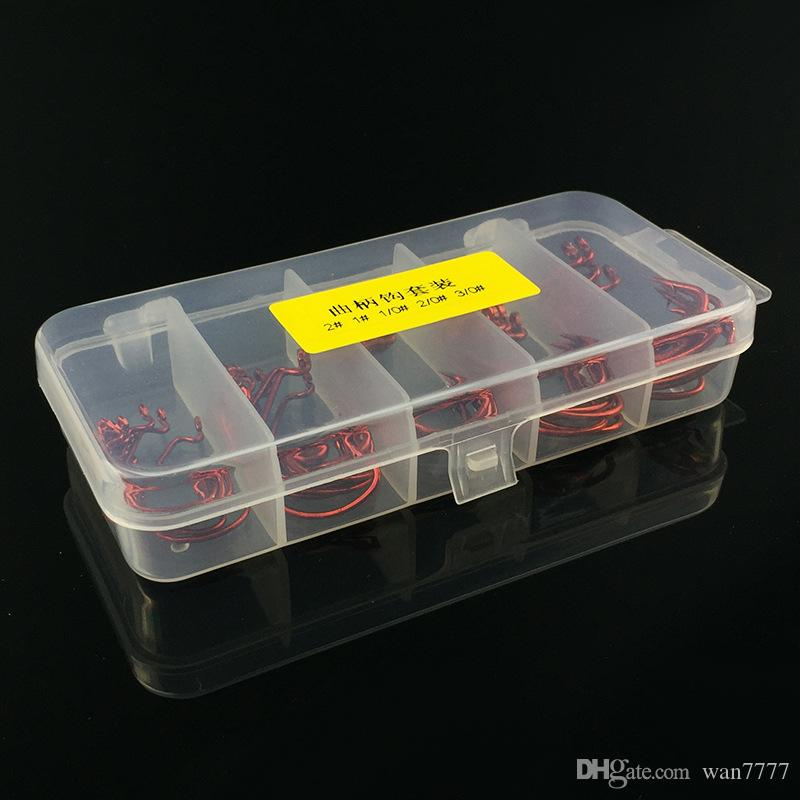 /1box 1#-3/0# Red Nickel Crank Hook High Carbon Steel With Hole Barbed Hooks Fishing Hooks Fishhooks Pesca Carp Fishing Tackle