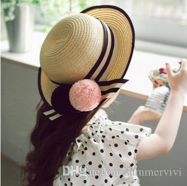 Baby Girl Straw Sun Hats Pompon Stripe Lace-up Sunhats for Kids Wide Brim  Beach Hat Children Caps Summer Children Sunshade Cap T5057 Girls Princess  Hats ... 84af31f4a448