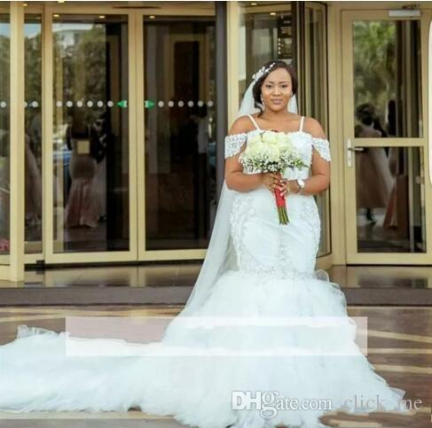 African Plus Size Wedding Dresses Spaghetti Straps Lace Appliques Beadding Capped Mermaid Wedding Dress Tiered Tulle Long Bridal Gowns