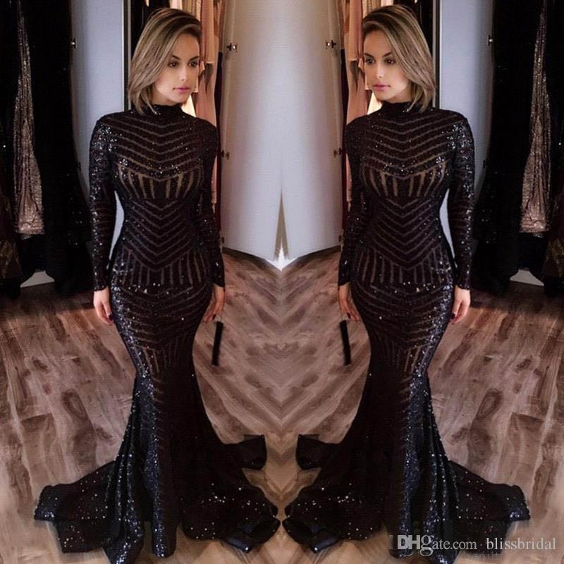 2017 Michael Costello Robes De Bal À Manches Longues Bling Bling Noir Paillettes Col Montant Sirène Sexy Celebrity Robes Pageant Robes De Soirée