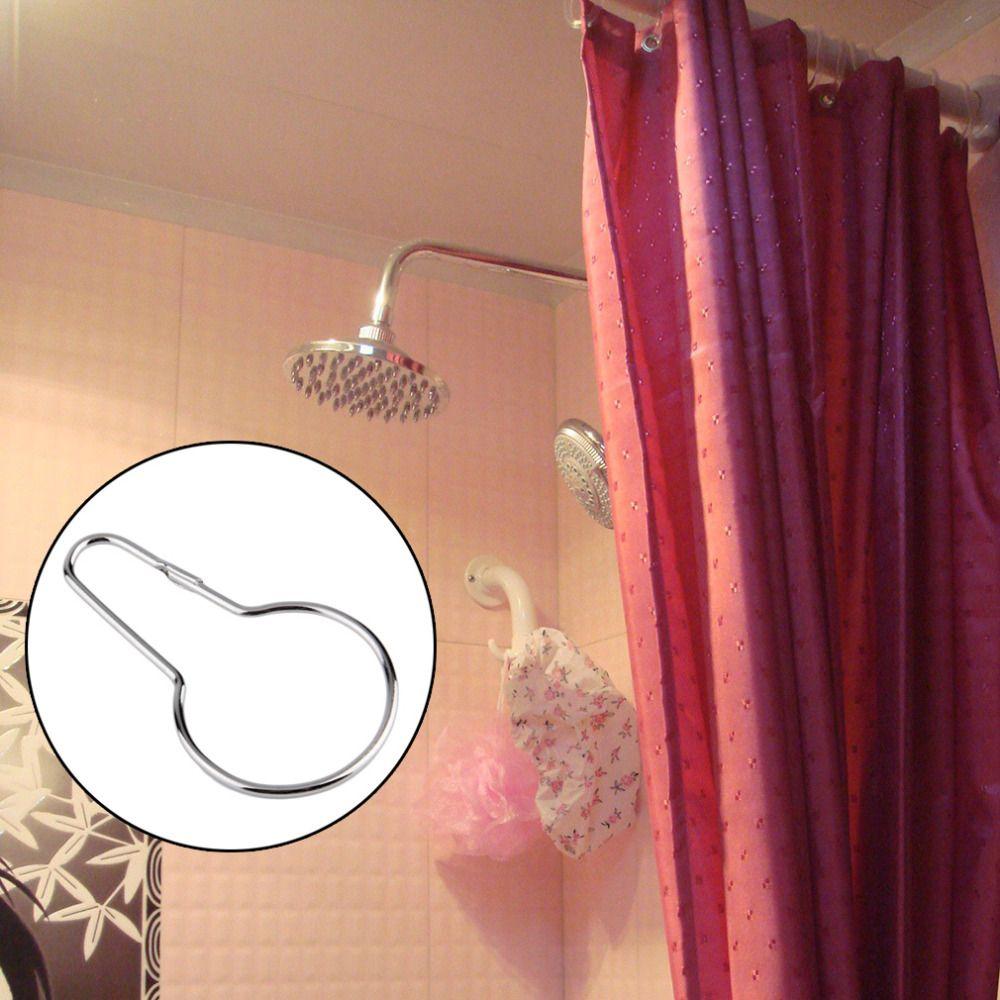 New Chrome Plated Shower Bath Bathroom Curtain Rings Clip Easy Glide Hooks Polished Chrome Finish