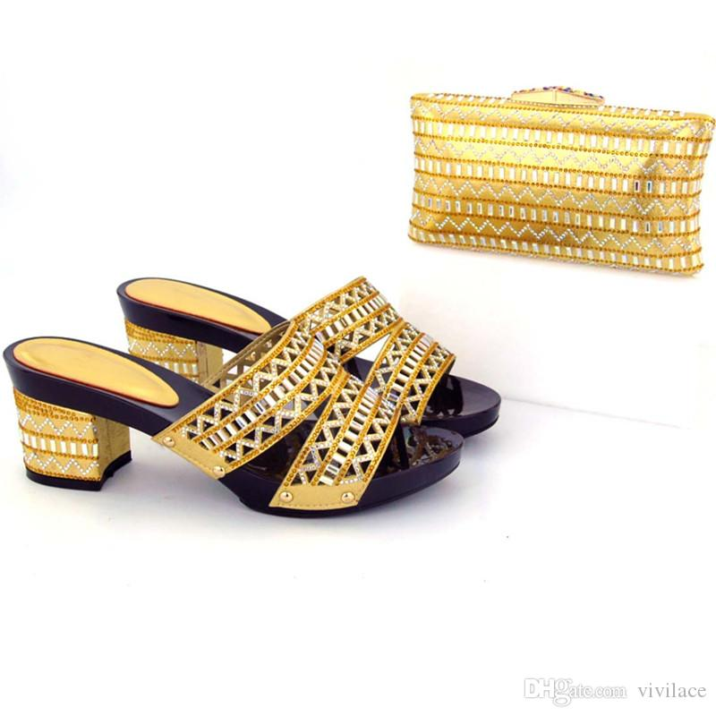 VIVILACE New gold Shoes and Bag Set Decorated with Rhinestone Nigerian Shoes and Bag Set for Wedding High Quality African Shoes and Bag