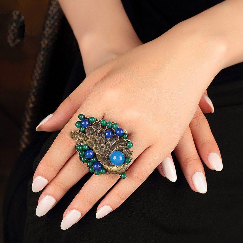 2019 New Vintage Wedding Gift Big Ring For Women Blue Female Big